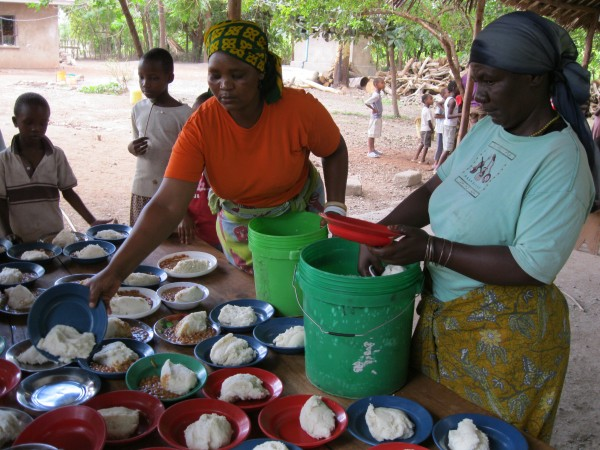 serving lunch at the Majengo Orphanage, Tanzania