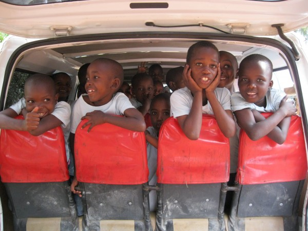 on the bus at the Majengo Orphanage, Tanzania